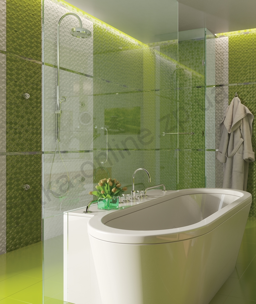 Фото керамическая плитка зеленая релакс для ванной дизайн